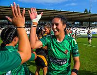 Manawatu captain Sarah Goss celebrates winning the women's cup final. Day two of the 2018 Bayleys National Sevens at Rotorua International Stadium in Rotorua, New Zealand on Sunday, 14 January 2018. Photo: Dave Lintott / lintottphoto.co.nz