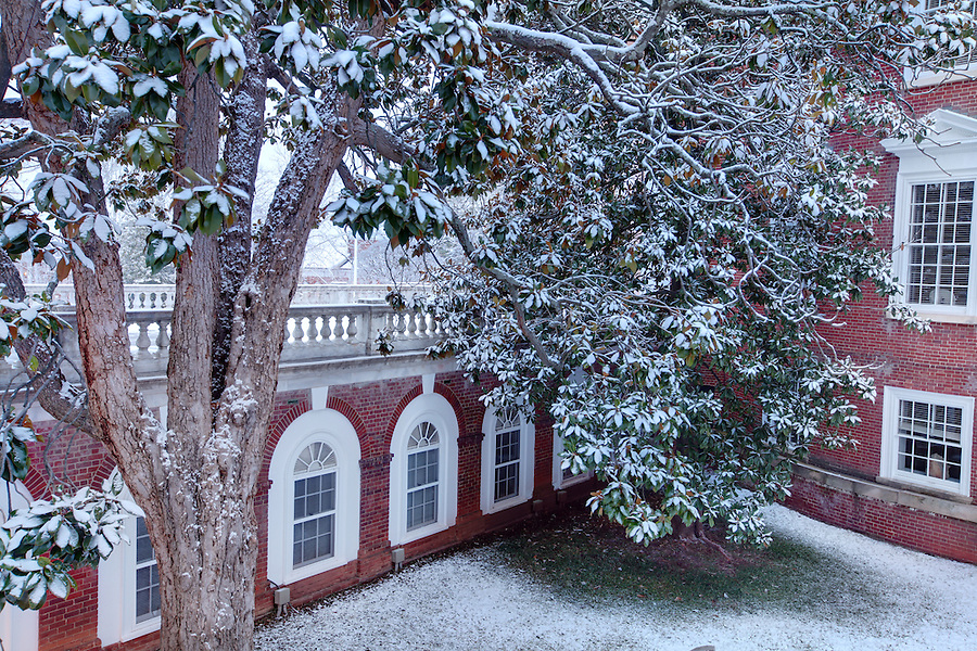 The University of Virginia side rotunda in snow on central grounds.