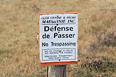 No Trespassing, hunting and fishing club sign