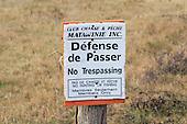 No Trespassing, hunting and fishing club sign