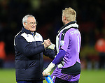 Leicester City's Claudio Ranieri celebrates at the final whistle with Kasper Schmeichel<br /> <br /> - English Premier League - Watford vs Leicester City  - Vicarage Road - London - England - 5th March 2016 - Pic David Klein/Sportimage