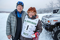 Honorary mushers Stan and Sally Smith at Knik during the start of the Junior Iditarod on Saturday February 25, 2017. <br /> <br /> <br /> Photo by Jeff Schultz/SchultzPhoto.com  (C) 2017  ALL RIGHTS RESVERVED