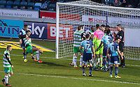 Things get heated among players in the Wycombe goal area during the Sky Bet League 2 match between Wycombe Wanderers and Yeovil Town at Adams Park, High Wycombe, England on 14 January 2017. Photo by PRiME Media Images.