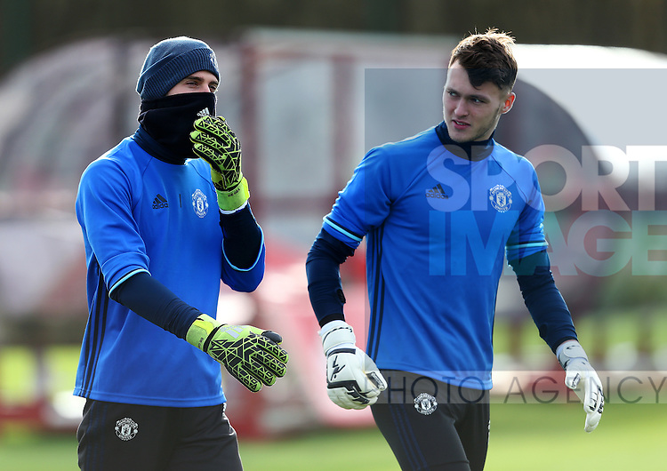 David De Gea of Manchester United and reserve goalkeeper Kieran O'Hara during the UEFA Europa League training session at the AON Training Complex, Manchester. Picture date: November 23rd 2016. Pic Matt McNulty/Sportimage
