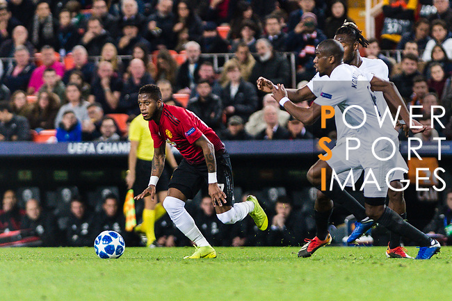Fred Rodrigues of Manchester United (L) runs with the ball during the UEFA Champions League 2018-19 match between Valencia CF and Manchester United at Estadio de Mestalla on December 12 2018 in Valencia, Spain. Photo by Maria Jose Segovia Carmona / Power Sport Images