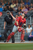 Salem Red Sox catcher Nick Sciortino (20) tracks a pop fly as home plate umpire Steven Jaschinski looks on during the game against the Fayetteville Woodpeckers at Segra Stadium on May 15, 2019 in Fayetteville, North Carolina. The Woodpeckers defeated the Red Sox 6-2. (Brian Westerholt/Four Seam Images)