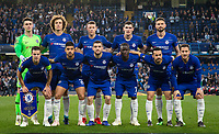 Chelsea pre match team photo (back row l-r) Goalkeeper Kepa ARRIZABALAGA, David LUIZ, Ross BARKLEY, Andreas Christensen & Olivier GIROUD (front row l-r) Cesar Azpilicueta, Emerson Palmieri, Mateo Kovacic, Ngolo KANTE, PEDRO & Eden HAZARD during the UEFA Europa League match between Chelsea and Slavia Prague at Stamford Bridge, London, England on 18 April 2019. Photo by Andy Rowland / PRiME Media Images.<br /> .<br /> .<br /> Editorial use only, license required for commercial use. No use in betting,<br /> games or a single club/league/player publications.'