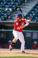 Buffalo Bisons designated hitter Ryan Schimpf (27) at bat during a game against the Louisville Bats on May 2, 2015 at Coca-Cola Field in Buffalo, New York.  Louisville defeated Buffalo 5-2.  (Mike Janes/Four Seam Images)