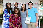 "COCONUT GROVE, FL - MARCH 30: Yvonne Mccormack Lyons; BaBa Adekemi Lyons; Lorna Owens, Cecilia Peck and Harper Peck attend the Women's International Film Festival 2014 - Brunch and the screening of ""Brave Miss World"" also received the awards for the best films of the festival on March 30, 2014 in Coconut Grove, Florida. (Photo by Johnny Louis/jlnphotography.com)"