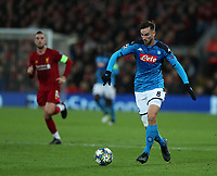 27th November 2019; Anfield, Liverpool, Merseyside, England; UEFA Champions League Football, Liverpool versus SSC Napoli ; Fabian Ruiz of SSC Napoli runs forward with the ball  - Editorial Use