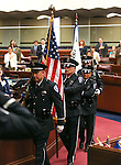 The Legislative Police Honor Guard leaves the Assembly chambers at the Legislative Building in Carson City, Nev., on Thursday, May 7, 2015.<br /> Photo by Cathleen Allison