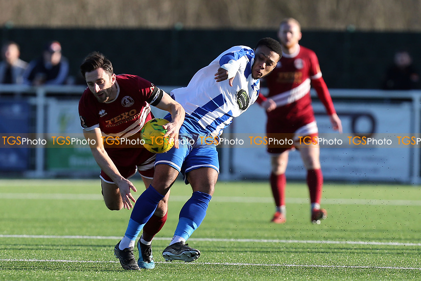 Wyan Reid of Aveley and Chris Whelpdale of Chelmsford City during Aveley vs Chelmsford City, Buildbase FA Trophy Football at Parkside on 8th February 2020