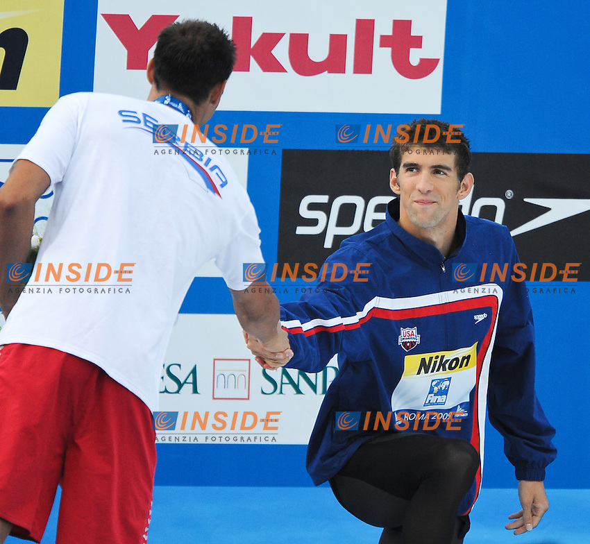 Roma 1st August 2009 - 13th Fina World Championships .From 17th to 2nd August 2009.Men's 100m Butterfly.Milorad CAVIC (SRB) Silver Medal and Michael PHELPS (USA).Roma2009.com/InsideFoto/SeaSee.com . .Foto Andrea Staccioli Insidefoto