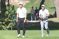 Haotong Li (CHN) and Sergio Garcia (ESP) during the second round of the Mutuactivos Open de Espana, Club de Campo Villa de Madrid, Madrid, Madrid, Spain. 04/10/2019.<br /> Picture Hugo Alcalde / Golffile.ie<br /> <br /> All photo usage must carry mandatory copyright credit (© Golffile | Hugo Alcalde)
