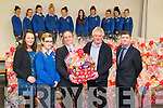 Hamper Presentation : Students from Miss Karen Meade's home economics  class & staff of Colaiste Ide agus Iosef, Abbeyfeale presenting 74 hampers to St Vincent de Paul at the school on Tuesday morning last. Front : Miss Karen Meade, Nicole O'Sullivan, Adam Hook, Manager Tesco, Abbeyfeale, Ted Tierney, St Vincent de Paul & Jim Tierney, Principal, Colaiste Ide agus Iosef.