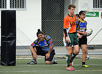 Action from the 2017 Hurricanes Secondary Schools Under-15 Girls' Rugby Tournament final between Ngati Porou East Coast White and Nga Wahine Toa at Wakefield Park in Wellington, New Zealand on Tuesday, 5 September 2017. Photo: Dave Lintott / lintottphoto.co.nz