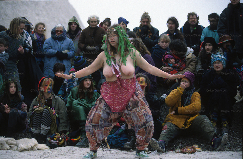 Mary dances the dragon. Donga theatre play in the Cutting. Road Protest actions at Twyford Down, near the Donga pathways, outside Winchester, against the M3 road extension. 1993<br />