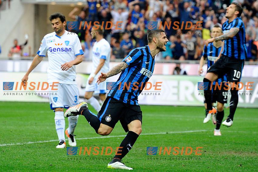 Esultanza gol di Mauro Icardi Inter 1-0. Celebration goal<br /> Milano 7-05-2016 Stadio Giuseppe Meazza - Football Calcio Serie A Inter - Empoli. Foto Giuseppe Celeste / Insidefoto