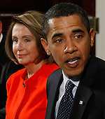 Washington, DC - January 23, 2009 -- Speaker of the House Nancy Pelosi (Democrat of California) listens as United States President Barack Obama (2nd-R) speaks during a meeting with bipartisan congressional leaders at the White House on January 23, 2008 in Washington, DC. President Obama discussed the economic stimulus package which may be approved by the middle of February. .Credit: Mark Wilson - Pool via CNP