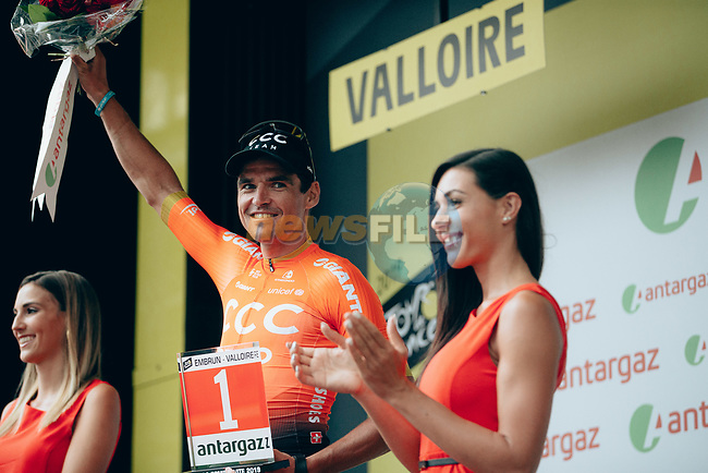 Greg Van Avermaet (BEL) CCC Team wins the day's combativity prize at the end of Stage 18 of the 2019 Tour de France running 208km from Embrun to Valloire, France. 25th July 2019.<br /> Picture: ASO/Thomas Maheux | Cyclefile<br /> All photos usage must carry mandatory copyright credit (© Cyclefile | ASO/Thomas Maheux)