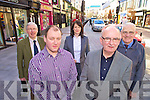 Liam Sheehan, Cathal O'Grady, Tanya O'Shea, Michael O'Shea and Michael Sheehan, traders on Main Street, Killarney, who are hoping to get free parking for a limited time period....