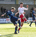 Forfar's Michael Travis clears from Stranraer's Steven Bell.