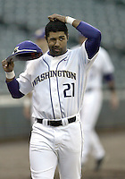 03 April 2009:  Washington's #21 Caleb Brown warms up before the game against Arizona State at Safeco Field in Seattle, WA.  Arizona State won 3-1 over Washington.