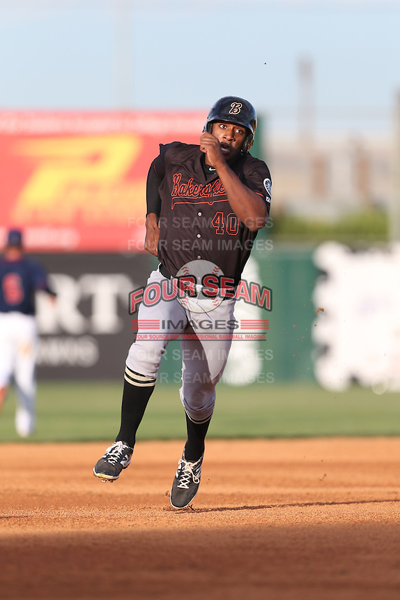 Austin Wilson (40) of the Bakersfield Blaze runs the bases during a game against the Lancaster JetHawks at The Hanger on August 5, 2015 in Lancaster, California. Bakersfield defeated Lancaster, 12-5. (Larry Goren/Four Seam Images)