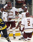 Michael Sit (BC - 18), Chris Calnan (BC - 11), Quinn Smith (BC - 27), Scott Savage (BC - 2) - The Boston College Eagles defeated the visiting Merrimack College Warriors 2-1 on Wednesday, January 21, 2015, at Kelley Rink in Conte Forum in Chestnut Hill, Massachusetts.
