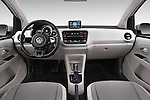 Stock photo of straight dashboard view of a 2014 Volkswagen up! e-up! 5 Door Hatchback 2WD Dashboard