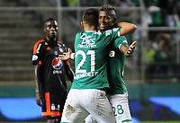 PALMIRA -COLOMBIA-11-06-2017: Luis Manuel Orjuela jugador del Deportivo Cali celebra después de anotar un gol a América de Cali durante partido por la semifinal de vuelta de la Liga Aguila I 2017 jugado en el estadio Palmaseca de la ciudad de Palmira. / Luis Manuel Orjuela player of Deportivo Cali celebrates after scoring a goal to Envigado FC during match for the second leg match semifinal of the Aguila League I 2017 played at Palmaseca stadium in Palmira city.  Photo: VizzorImage/ Nelson Rios /Cont