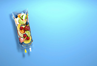 Pieces of fresh fruit inside of intravenous drip bag