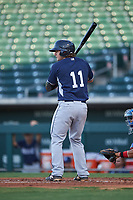 AZL Padres 1 Chandler Seagle (11) at bat during an Arizona League game against the AZL Cubs 1 on July 5, 2019 at Sloan Park in Mesa, Arizona. The AZL Cubs 1 defeated the AZL Padres 1 9-3. (Zachary Lucy/Four Seam Images)