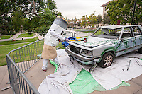 "Anti-smoking costume meets car smashing for charity, as brothers from the Oxy chapter of Phi Kappa Psi organized a ""car smash"" fundraiser on campus, part of Movember, a month-long effort to raise awareness for men's health issues such as prostate and testicular cancer. Nov. 15, 2012. (Photo by Marc Campos, Occidental College Photographer)"