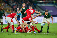 27th October 2019, Oita, Japan;  Gareth Davies of Wales plays the ball along his line from the maul during the 2019 Rugby World Cup semi-final match between Wales and South Africa at International Stadium Yokohama in Kanagawa, Japan on October 27, 2019.  - Editorial Use
