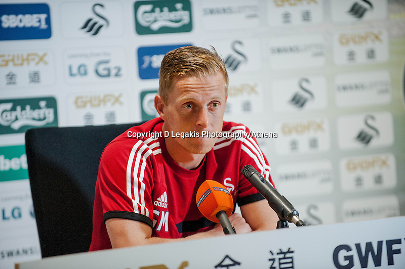Thursday 01 May 2014<br /> Pictured: Garry Monk, Manager of Swansea City<br /> Re: Swansea City FC Press Conference ahead of Swansea City's Clash with Southampton