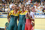 Glasgow 2014 Commonwealth Games<br /> Elinor Barker (Wales) celebrates her bronze medal alongside the Australian pair Annette Edmondson (Gold) and Amy Cure (Silver).<br /> Elinor Barker (Wales)<br /> Womens 10km Scratch Race<br /> Sir Chris Hoy Velodrome<br /> 26.07.14<br /> ©Steve Pope-SPORTINGWALES