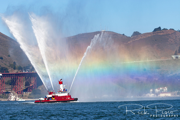 San Francisco Fire Departments fireboat Gaurdian Fireboat No. 2 uses its water canons to create a rainbow on San Francisco Bay.