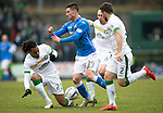 St Johnstone v Celtic.....14.02.15<br /> Jason Denayer stops Michael O'Halloran<br /> Picture by Graeme Hart.<br /> Copyright Perthshire Picture Agency<br /> Tel: 01738 623350  Mobile: 07990 594431