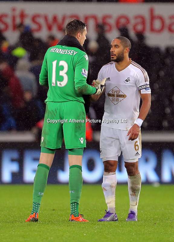 (L-R) Wayne Hennessey of Crystal Palace greets Ashley Williams of Swansea after the Barclays Premier League match between Swansea City and Crystal Palace at the Liberty Stadium, Swansea on February 06 2016