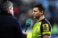 Ben Youngs of Leicester Tigers is interviewed after the match. Aviva Premiership match, between Wasps and Leicester Tigers on January 8, 2017 at the Ricoh Arena in Coventry, England. Photo by: Patrick Khachfe / JMP