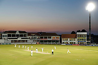 Kent players celebrate after Calum Haggett took a Middlesex wicket in this wide angle view of the St Lawrence ground under lights during the County Championship Division 2 game between Kent and Middlesex at the St Lawrence Ground, Canterbury, on June 25, 2018