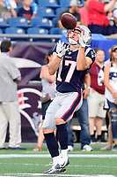 August 9, 2018: New England Patriots wide receiver Riley McCarron (17) during the NFL pre-season football game between the Washington Redskins and the New England Patriots at Gillette Stadium, in Foxborough, Massachusetts.The Patriots defeat the Redskins 26-17. Eric Canha/CSM