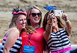 SARATOGA SPRINGS, NY - AUGUST 25: Three women pose for a selfie on Travers Stakes Day at Saratoga Race Course on August 25, 2018 in Saratoga Springs, New York. (Photo by Scott Serio/Eclipse Sportswire/Getty Images)