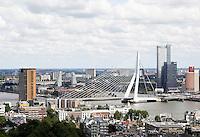 Nederland Rotterdam 2016 . Rotterdam gezien vanaf de Euromast. De Erasmusbrug. Foto Berlinda van Dam / Hollandse Hoogte