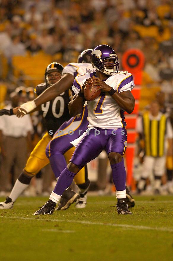 Tarvaris Jackson, of the Minnesota Vikings, in action against the Pittsburgh Steelers  on August 18, 2006, in Pittsburgh...Vikings win 17-10..David Durochik / SportPics