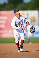 Auburn Doubledays third baseman Paul Panaccione (9) during a game against the Williamsport Crosscutters on June 26, 2016 at Falcon Park in Auburn, New York.  Auburn defeated Williamsport 3-1.  (Mike Janes/Four Seam Images)