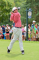 Keegan Bradley (USA) watches his tee shot on 11 during Sunday's final round of the PGA Championship at the Quail Hollow Club in Charlotte, North Carolina. 8/13/2017.<br /> Picture: Golffile | Ken Murray<br /> <br /> <br /> All photo usage must carry mandatory copyright credit (&copy; Golffile | Ken Murray)