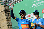 Spanish Champion Alejandro Valverde (ESP) Movistar Team at sign on before the 113th edition of Il Lombardia 2019 running 243km from Bergamo to Como, Italy. 10th Octobre 2019. <br /> Picture: Fabio Ferrari/LaPresse | Cyclefile<br /> <br /> All photos usage must carry mandatory copyright credit (© Cyclefile | LaPresse/Fabio Ferrari)