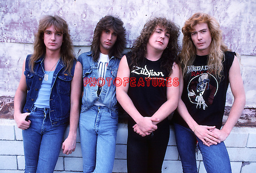 Megadeth 1987 David Ellefson, Jeff Young, Chuck Behler and Dave Mustaine..© Chris Walter..